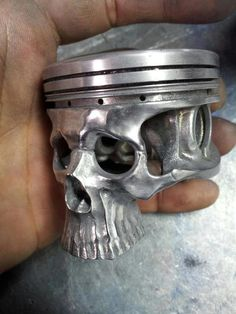 The best 'Skull Piston' head I have ever come across. The casting is so detailed, the perfect look for any Rat Rod or an insane taillight mount for a creepy hearse SkullyBloodrider. Metal Projects, Welding Projects, Art Projects, Scrap Metal Art, Welding Art, Arc Welding, Skull And Bones, Skull Art, Metal Skull