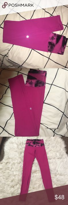 Pink Lululemon Athletica Leggings Comfortable pinking running tights! I loved them they were just too big, worn maybe 4-5 times! The thick waste band is great for slimming you in! lululemon athletica Pants Leggings