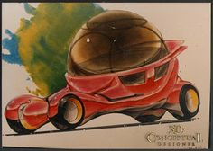 3DconceptualdesignerBlog: Personal Project: My Bubble Car Design 1989-2011-PART III -3rd Term Marker and Chalk Rendering 1989