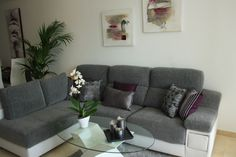 Another living room décor. Grey and purple are so beautiful together
