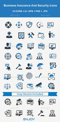 Business Insurance and Security Icons - Download: http://graphicriver.net/item/business-insurance-and-security-icons/14468381?ref=ksioks