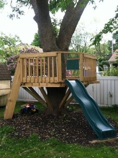 Tree Fort Playset Ideas   We R making plans for something like this :)   Kids ... #playhousesforoutside #WoodworkingPlansForKids