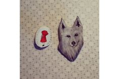 Red riding hood & wolf brooch set by Sam Bear Things Red Riding Hood Wolf, Paint Set, Little Red, Fairy Tales, Brooch, Hand Painted, Bear, Handmade, Painting