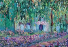 Oil painting inspired by Claude Monet's gardens with by bijuterra, $110.00