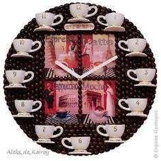 Декор предметов Декупаж Лепка Мои кофейные часики - часть 42 часы №58 Кофе фото 1