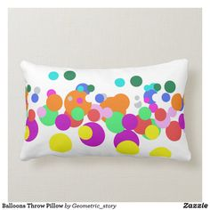 Balloons Throw Pillow #pillow #throw #homedecor #home #interiordesign #interiors #interiorstyling #pillows #bedroom #bedroomdecor #square #zazzle #zazzlemade #zazzlecom #zazzlestore #oblong #white #rectangle #circles
