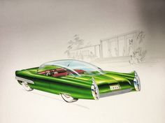 The show at Lawrence Technological University features sketches by more than 100 stylists who worked for the big automakers between 1946 and Plymouth Duster, Car Design Sketch, Car Sketch, Ford Thunderbird, Buick, Dodge Charger, Cadillac, Automotive Design, Auto Design