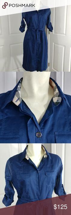 Burberry Brit Dress Sz US6/UK8 Shell 100% Cotton, Lining 100% Cotton, Navy blue, Like new condition. Burberry Dresses