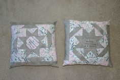 2 pillows I made for 2 different weddings.  Playing with the colors made a difference in the outcome
