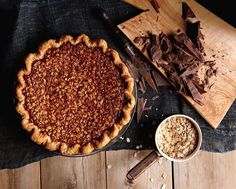 Black Bottom Oatmeal Pie // This may be a pie from my dreams. It's like a pecan pie, but with oatmeal and a layer of chocolate ganache.