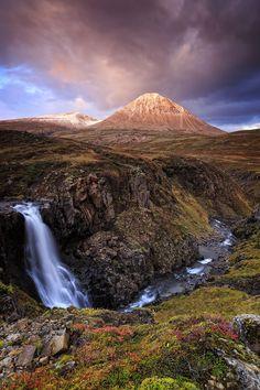 The mountain Baula and unknown waterfall in Borgarfjordur, Iceland // Jon Hilmarsson