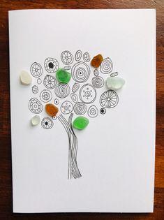 SEA GLASS CARD - MAGIC TREE