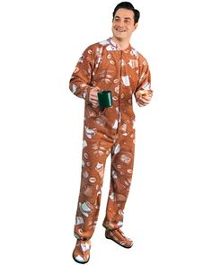 bc75482164 PajamaCity Coffee Lovers Print Polar Fleece Drop Seat Footy Pajamas for  Teens and Adults