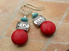 Santa Fe Holiday earrings red earrings turquoise dangle Southwest earrings Boho Bohemian jewelry fashion. $18.00, via Etsy.