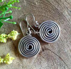 Spiral handmade sterling silver earrings