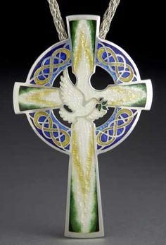 Cross with Dove and Olive Branch Enamel Jewelry, Jewelry Art, Jewelry Design, Jewellery, Kristin Anderson, Dove And Olive, Vitreous Enamel, Enamels, Crosses