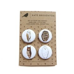 owl badges (set of four). £4.00, via Etsy.