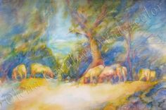 Watercolor print Sheeps by OlentaWatercolor on Etsy,