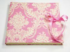 Gästebücher - Gästebuch Toile de Jouy Stoff rosé - ein Designerstück von scatoli bei DaWanda
