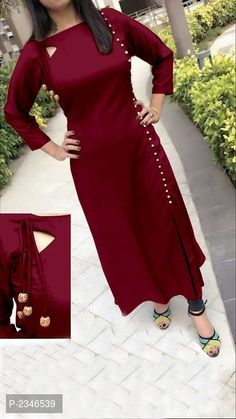 850d94d08a8 Maroon Color Women s 14Kg Premium Quality Rayon Kurti Churidar Pattern