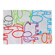 Decoloopio.com – Tapis enfant : Eléphants colorés  : On craque pour ce tapis éléphant Multicouleurs et tonique !  Dimensions : 100 x 150 cm et d'une hauteur du velours de 12 mm.  Tapis doux et résistant  Couleur : multicouleurs . Idéal pour décorer la chambre de votre enfant –