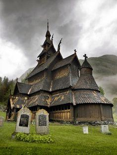 12th Century Wooden Church Borgund Sogn Og Fjordane Norway