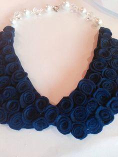 Navy Blue Peter Pan Collar Felt Necklace on Etsy, $30.00