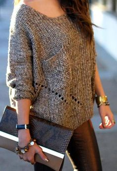 Love this outfit! And found the leather leggings from Nasty Gal with a  discount  #fall #fallfashion