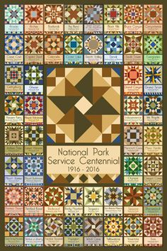 National Park Service Centennial Quilt Block by Susan Davis with 48 national park designs. We have more than 1,000 vintage national park images printed on cotton sateen for quilters. Go to our web sites to see all our quilt blocks, OldeAmericaAntiques.com and AmericanQuiltBlocks.com
