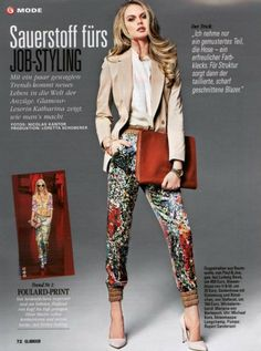 Glamour Germany - Patterned silk pants SS 2012 Collection Autumn Winter Fashion, Fall Winter, Glamour, Silk Pants, Trends, Blazer, Silk Painting, Editorial Fashion, Ss