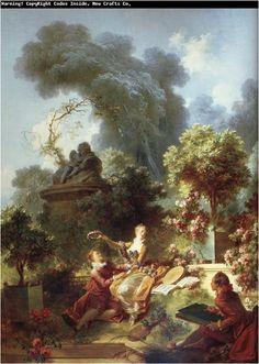Il progresso dell'amore (3/4), 1771-1773, olio su tela, Pavillion de Musique, Louveciennes