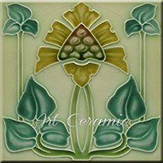Amazon.com: Art Nouveau Ceramic Tile 6 Inches Reproducction #258: Kitchen & Dining