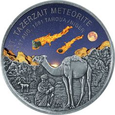 2016 Niger 1 oz 1k Francs silver coin - Mount Tazerzait, African Meteorite (coloring and meteorite fragment insert).
