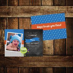 Monster Birthday Party Invite by TheMelangeMarket on Etsy, $10.00