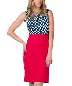 Another great find on #zulily! Navy & Red Polka Dot Sleeveless Dress by Guita #zulilyfinds
