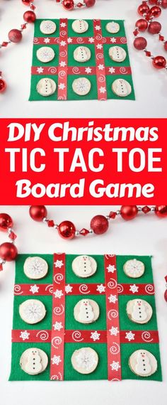 This DIY Christmas Tic Tac Toe board is an easy to make holiday craft perfect for the kids to make as homemade gifts for their classmates and friends. #DIYChristmas #ChristmasGifts #ChristmasDIY #TicTacToe #DIYCrafts #KidsCraft #CraftsForKids #Felt #Snowman #BoardGame #DIYProject