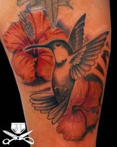 hummingbird and hibiscus tattoo designs | This was created with a 7 liner, 3 super tight liner, #08 11 bugpin ...