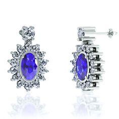 0.36 Carats Oval Earring 14K White Gold with Diamonds - toptanzanite.com