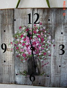 Reclaimed Wood Wall Clock Original Hand by ShePaintedEverything