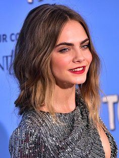 Best 2015 Celebrity Hair Moment - Cara Delevingne's  loose beachy waves at the Paper Towns premiere in New York City | allure.com