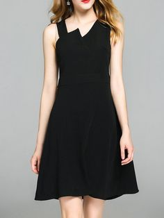 Shop Mini Dresses - Black Paneled Sleeveless Polyester A-line Mini Dress online. Discover unique designers fashion at StyleWe.com.
