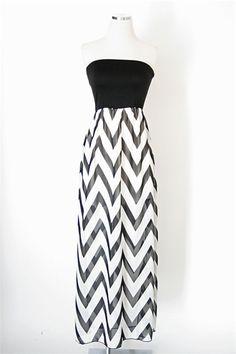 Chevron Crush Maxi Dress - Black