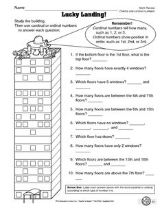 Math Worksheet: ordinal and cardinal numbers