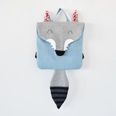 Kids Bags – Backpack Wolf – a unique product by Lady-Stump on DaWanda - beutel Sewing Projects For Kids, Sewing For Kids, Diy For Kids, Sewing Crafts, Sewing Diy, Animal Backpacks, Kids Backpacks, Animal Bag, Fabric Bags
