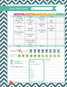 Daily Food Diary Printable | Thanks for pinning my printables! Visit me at freshpaperie.com to sign up for my newsletter and receive FREE printables in your inbox regularly.