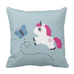 Cute White Unicorn with a Butterfly Throw Pillow - girly gift gifts ideas cyo diy special unique