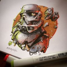 Artist fuses a macabre feel into the characters of star wars Video Games For Kids, Marker Art, Copics, Copic Markers, Insta Photo, Macabre, Art School, Free Food, Art Drawings