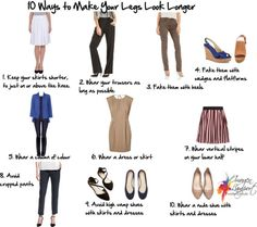How to Make Short Legs Look Longer. If your short legs are getting you down, there are things you can do to help them look longer. Wearing the right types of clothes and shoes can really help make your legs look longer and leaner. Petite Fashion, Plus Size Fashion, Look Fashion, Womens Fashion, Fashion Trends, Fashion Beauty, Inside Out Style, Style Me, Cool Style