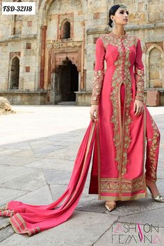 Z Fashion Trend: PINK DESIGNER PARTY WEAR SUIT WITH PANT