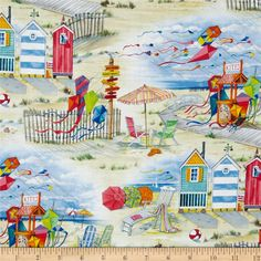 Beach Vista Allover Sand from @fabricdotcom  Designed by Paul Brent for Elizabeth's Studio, this cotton print fabric is perfect for quilting, apparel and home decor accents. Colors include black, red, pink, orange, yellow, white, shades of grey, shades of blue, shades of green, and shades of cream.